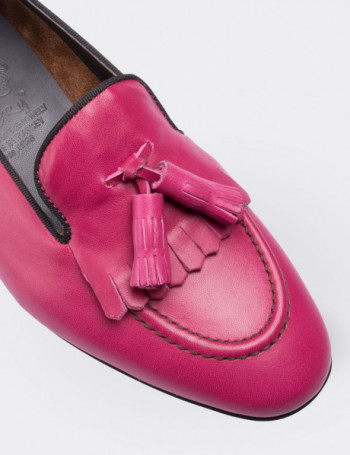 Pink Calfskin Leather Loafers