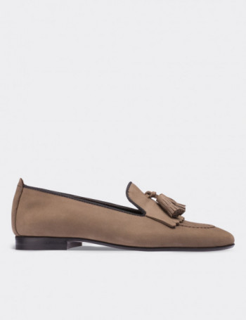 Tan Nubuck Calfskin Loafers
