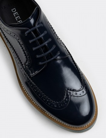 Navy Patent Lace-up Shoes