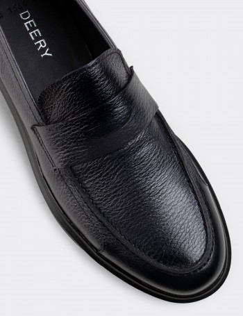 Gray Calfskin Leather Loafers