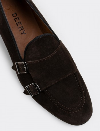 Brown Suede Calfskin Monk-Strap Loafers