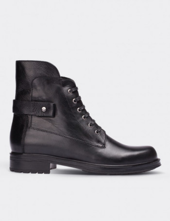 Black Calfskin Leather Boots