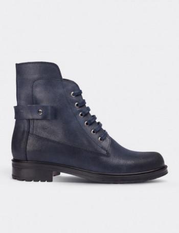 Navy Nubuck Calfskin Boots