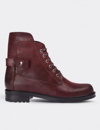 Burgundy Nubuck Calfskin Boots