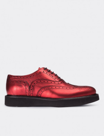 Red Calfskin Leather Lace-up Shoes