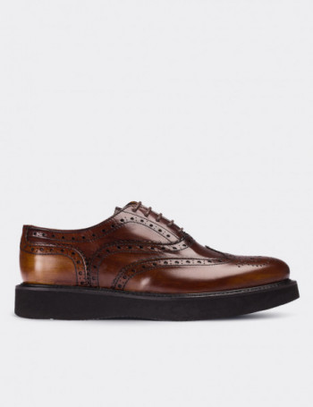 Brown Calfskin Leather Lace-up Shoes