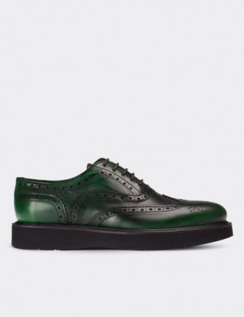 Green Calfskin Leather Lace-up Shoes