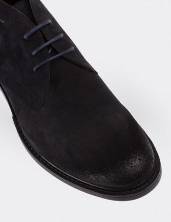 Navy Suede Calfskin Desert Boots