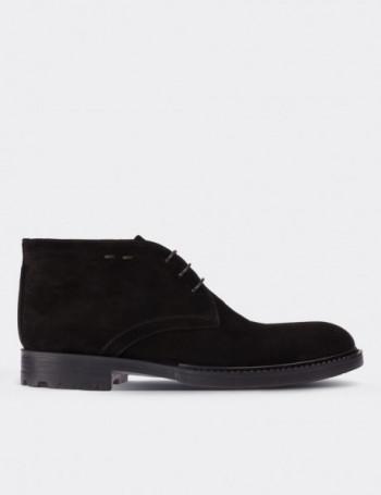 Black Suede Calfskin Desert Boots