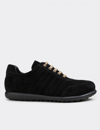 Black Suede Calfskin Lace-up Shoes