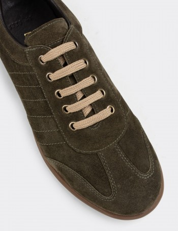 Green Suede Calfskin Lace-up Shoes