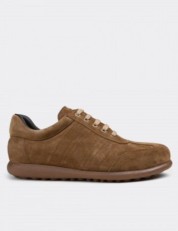 Tan Suede Calfskin Lace-up Shoes