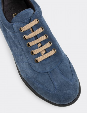 Blue Suede Calfskin Lace-up Shoes