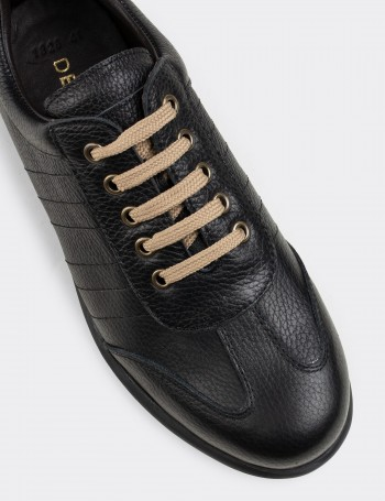 Black Calfskin Leather Lace-up Shoes