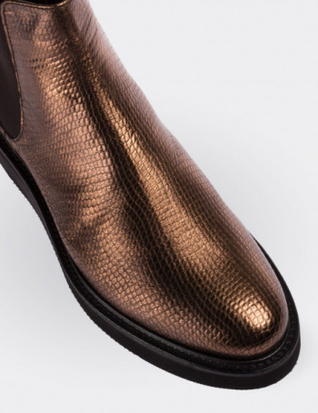 Copper Calfskin Leather Chelsea Boots