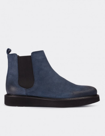 Blue Suede Calfskin Chelsea Boots