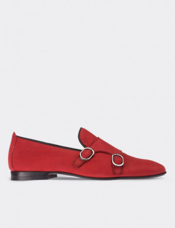 Red Nubuck Calfskin Loafers