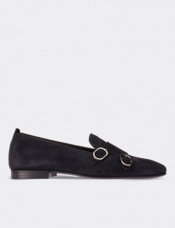 Navy Suede Calfskin Loafers