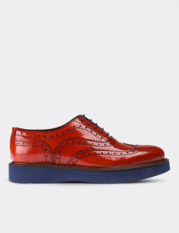 Orange Calfskin Leather Lace-up Shoes