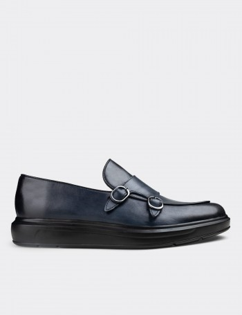 Blue Calfskin Leather Double Monk-Strap Loafers