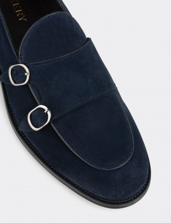 Blue Suede Calfskin Double Monk-Strap Loafers