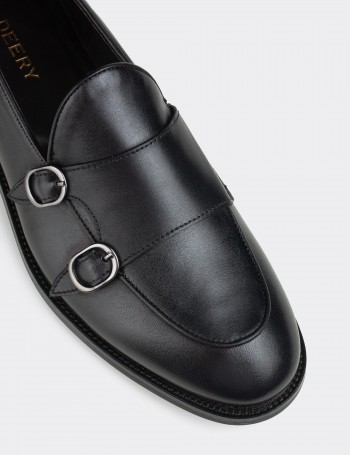 Black Calfskin Leather Double Monk-Strap Loafers