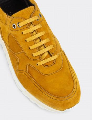 Yellow Suede Calfskin Sneakers