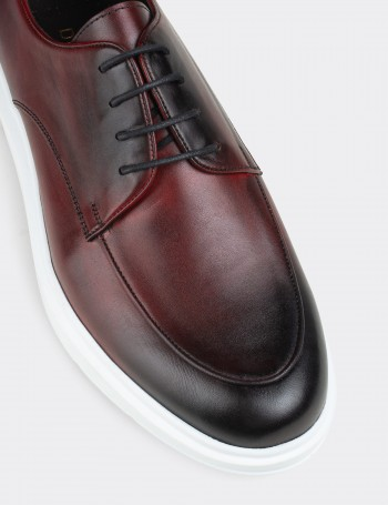 Burgundy Calfskin Leather Lace-up Shoes