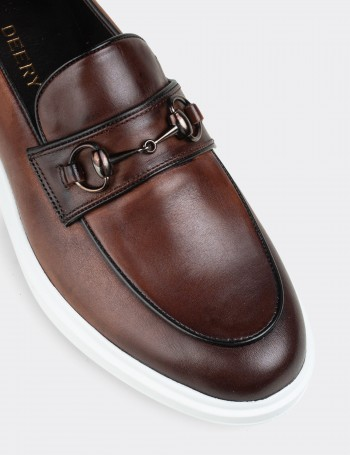 Tan Calfskin Leather Comfort Loafers