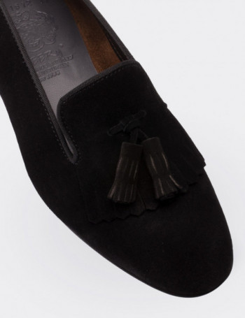 Black Suede Calfskin Loafers