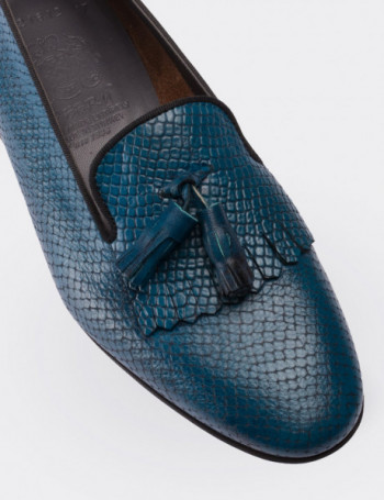 Navy Calfskin Leather Loafers