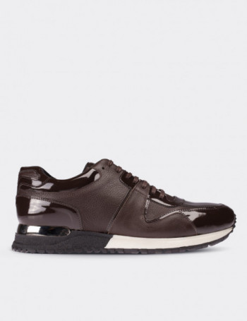 Brown Patent Leather Lace-up Shoes