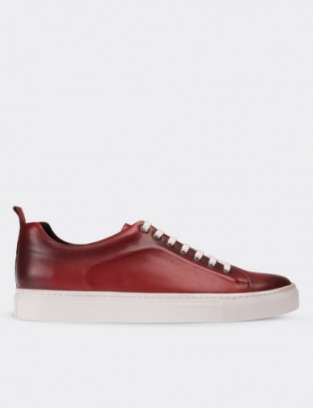 Red Calfskin Leather Sneakers