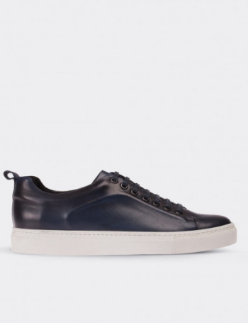 Blue Calfskin Leather Sneakers