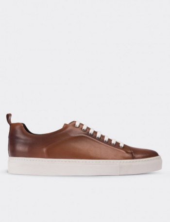 Tan Calfskin Leather Sneakers