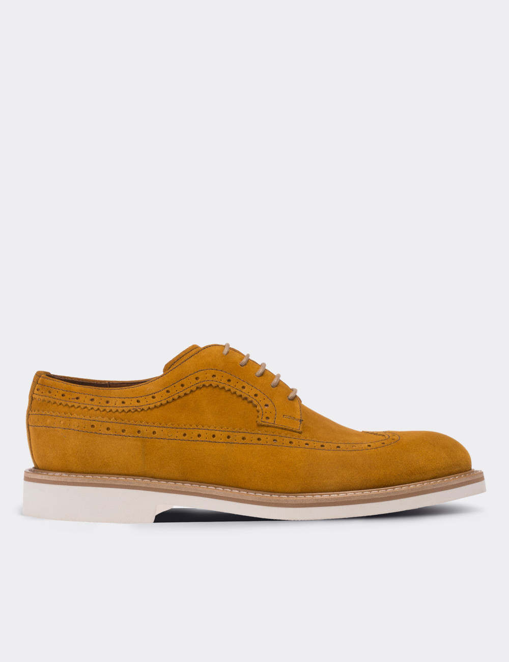 Yellow Suede Calfskin Lace-up Shoes - Deery