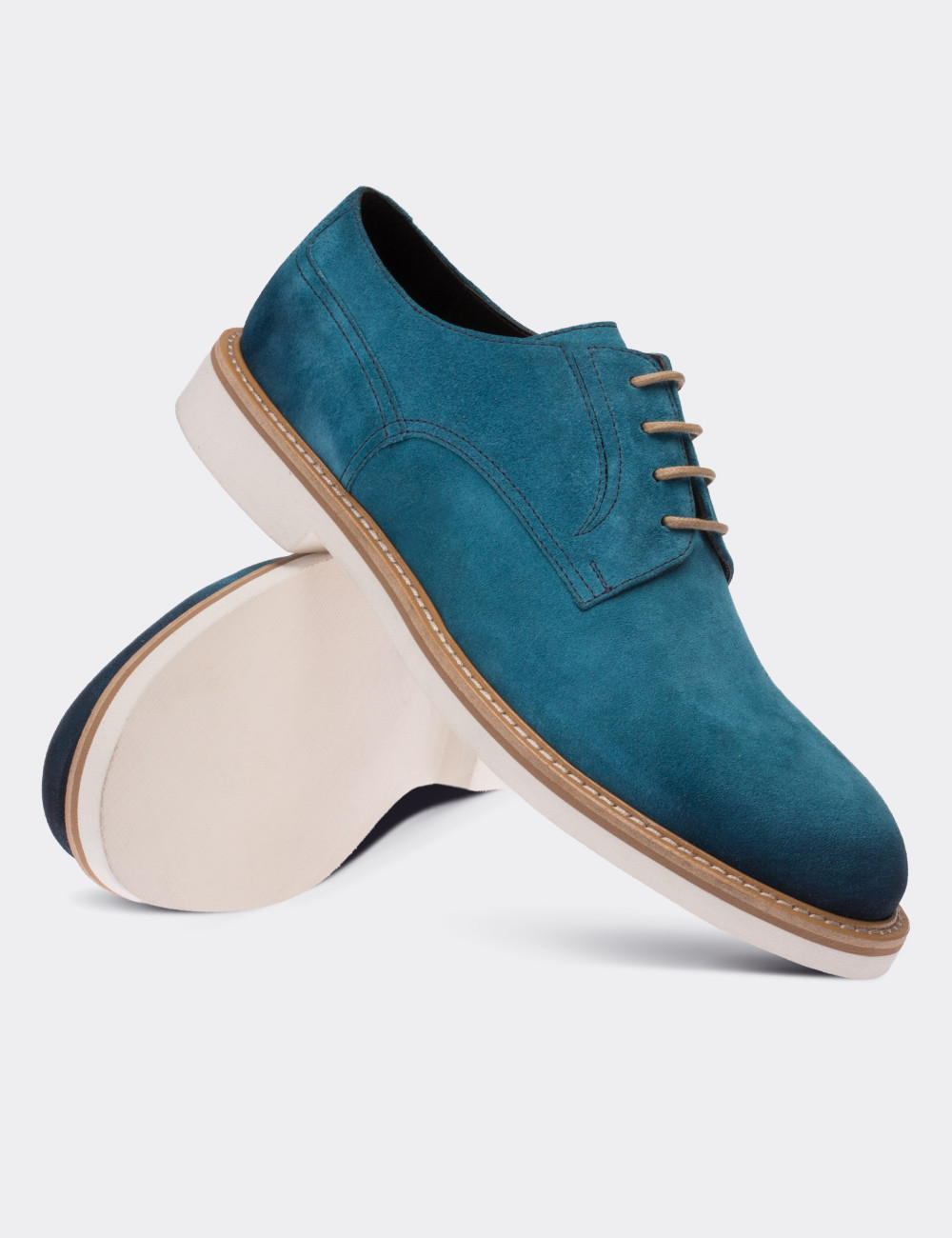 Blue Suede Calfskin Lace-up Shoes - Deery