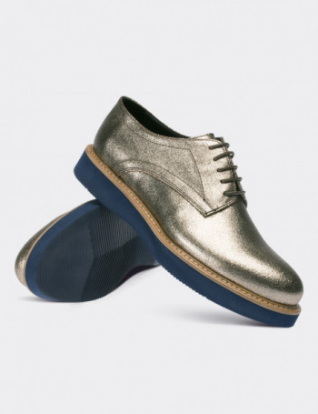 Gold Calfskin Leather Lace-up Shoes