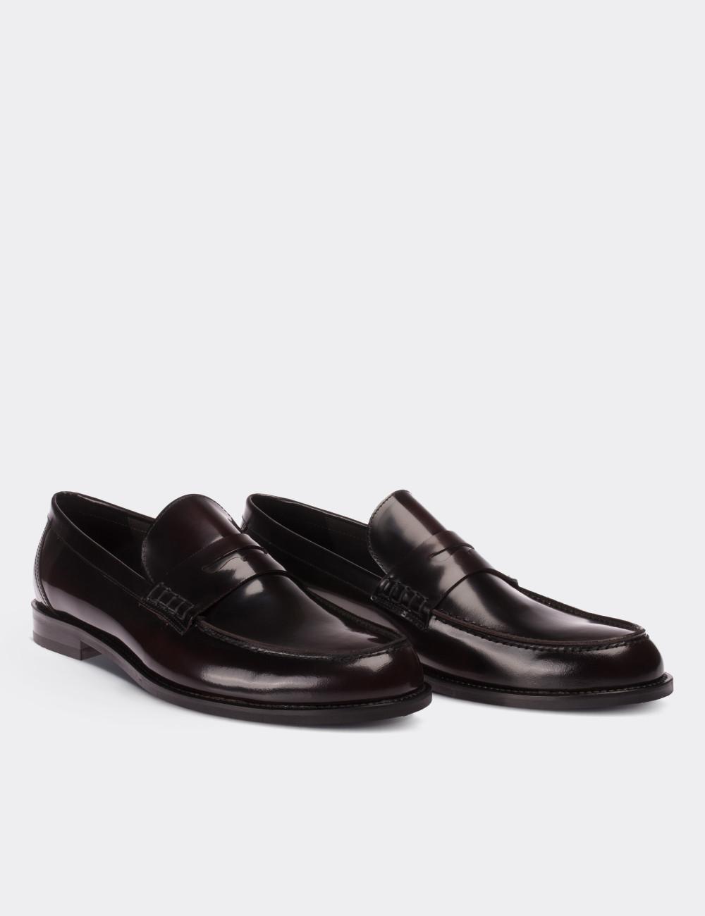 2ca445dd6af Burgundy Calfskin Leather Loafers - 01538MBRDM01
