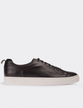 Black Calfskin Leather Sneakers