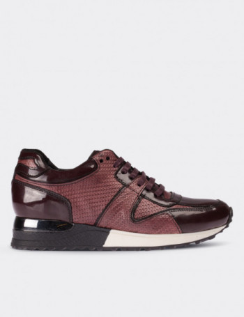 Burgundy Patent Leather Lace-up Shoes