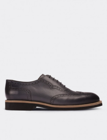 Gray Calfskin Leather Lace-up Shoes