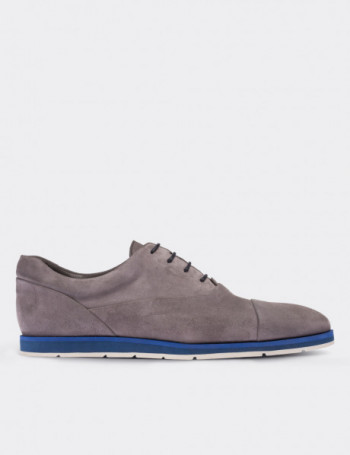 Gray Suede Calfskin Lace-up Shoes
