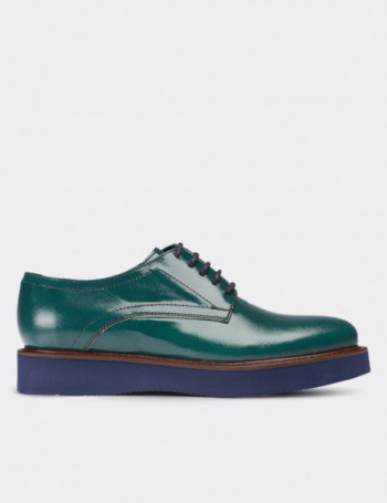 Green Patent Leather Lace-up Shoes