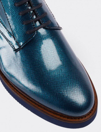 Blue Patent Leather Lace-up Shoes
