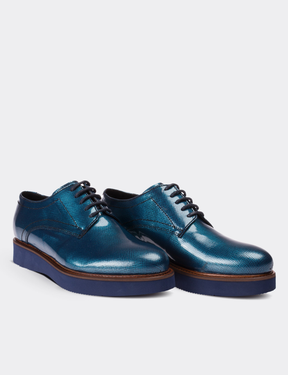 Blue Patent Leather Lace-up Shoes - Deery