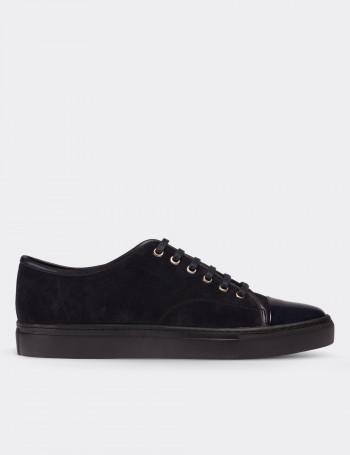 Navy Suede Calfskin  Sneakers