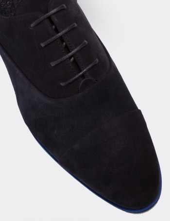 Navy Suede Calfskin Lace-up Shoes