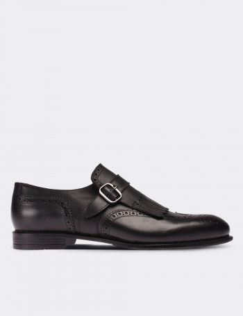 Black Calfskin Leather Monk Straps Shoes