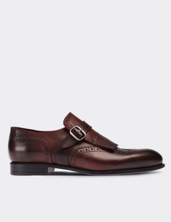 Burgundy Calfskin Leather Monk Straps Shoes